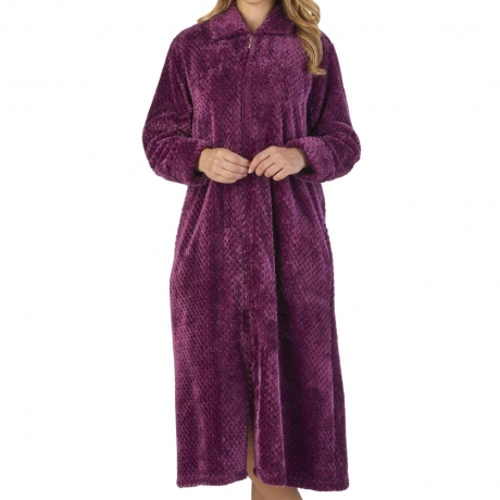 Zipped Waffle Fleece Dressing Gown Nightwear
