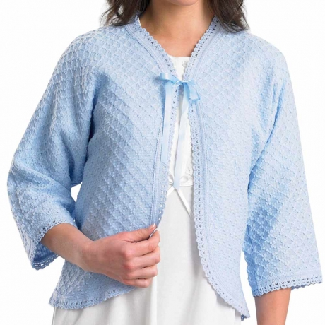 Ribbon Tie Diamond Pattern Lightweight Bedjacket