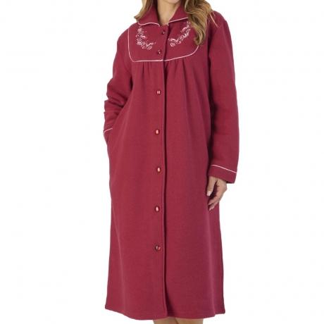 Elegant Button Up Front Fleece Housecoat