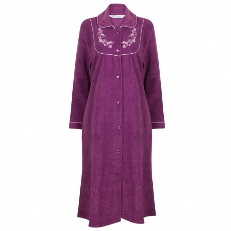 Elegant Button Up Front Fleece Housecoat