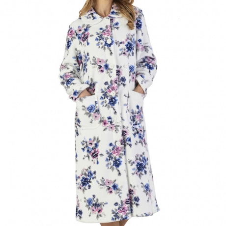 Luxury Button Opening Floral Print Housecoat