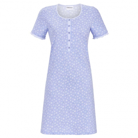 Daisy Buttoned Top Short Sleeve Cotton Nightdress Nightwear