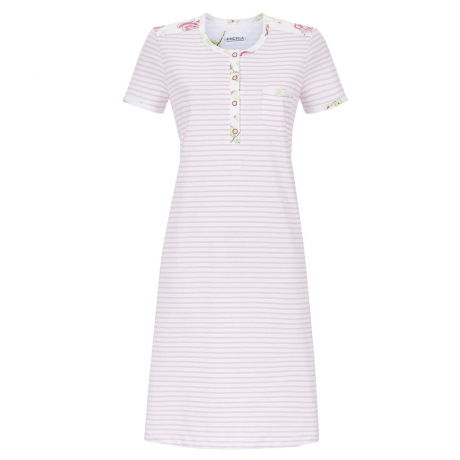 Striped Short Sleeve Pure Cotton Nightdress