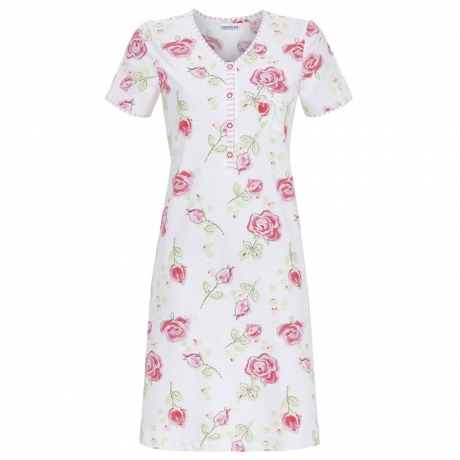 Rose Buttoned Top Cotton Nightdress