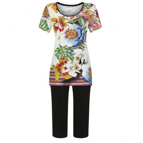 Tropical Short Sleeve Capri Set Loungewear