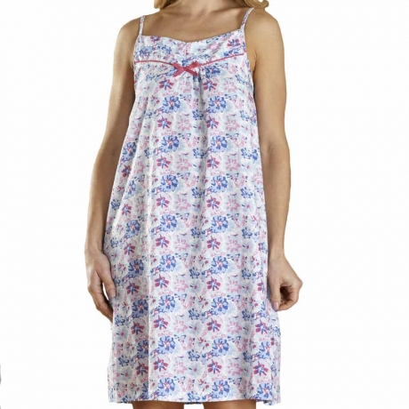 Flower Print Spaghetti Strap Cotton Nightdress