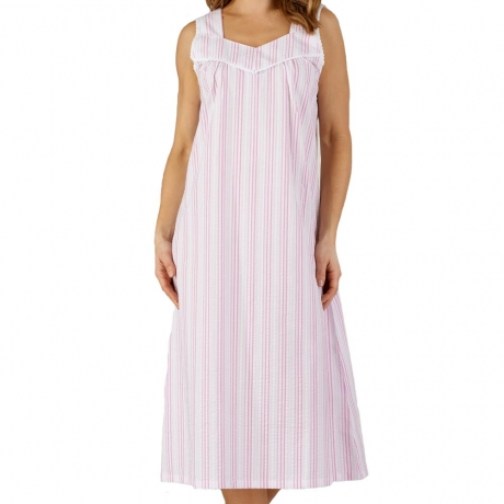 535a56c6c Seersucker Broad Strap Nightdress - Classic design nightie made from cotton  rich lightweight fabric perfect for summer nights.