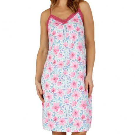 Spaghetti Strap Knee Length Floral Nightdress Nightwear