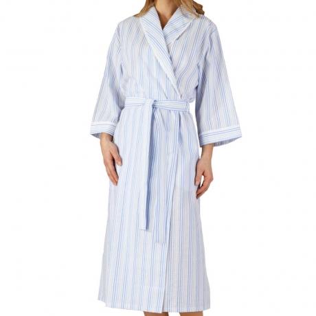 Seersucker 3/4 Sleeve Belted Wrap Front Housecoat