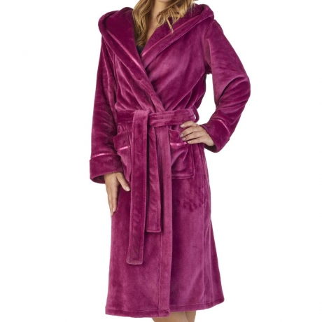 Hooded Velour Dressing Gown with Wrap Front