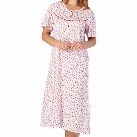 Buttoned Top Short Sleeve Cotton Nightdress