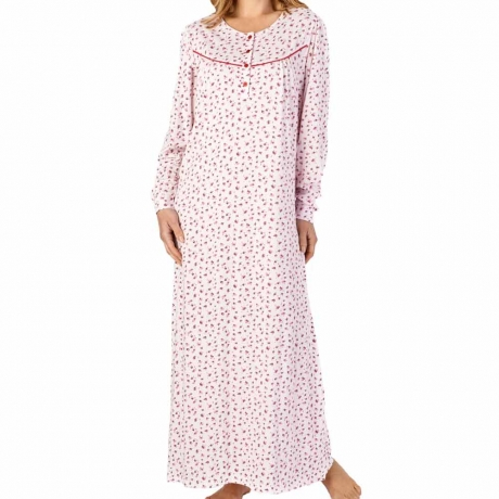 Buttoned Top Longer Length Long Sleeve Cotton Nightdress