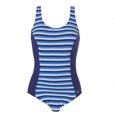 Double Stripe Chlorine Resistant Moulded Cup Shaping Swimsuit