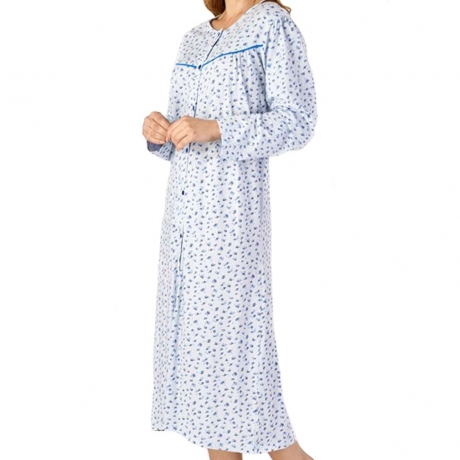 Buttoned Top Long Sleeve Cotton Nightdress