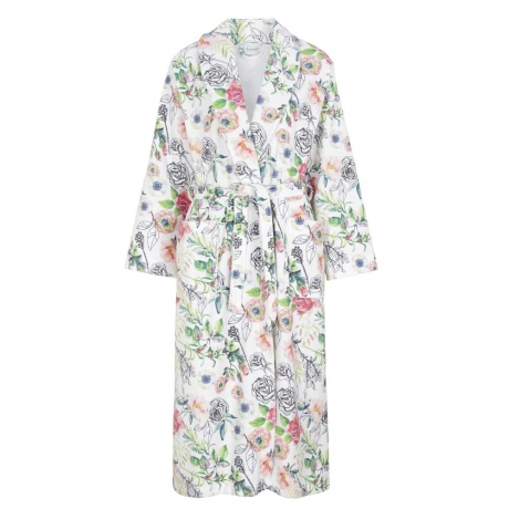 Rose Print Tie Front Bath Robe