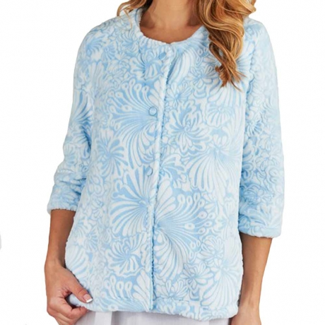 Cosy Soft Touch Buttoned 3/4 Sleeve Bedjacket