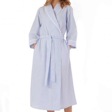 Slenderella Seersucker Housecoat in blue HC55228