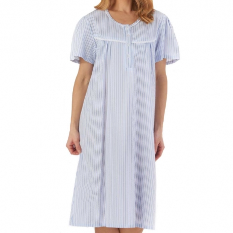 Slenderella Seersucker Nightdress in blue ND55221