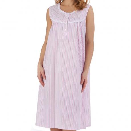 Slenderella Seersucker Nightdress in pink ND55220