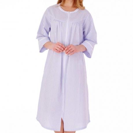 Slenderella Seersucker Housecoat in blue HC55229